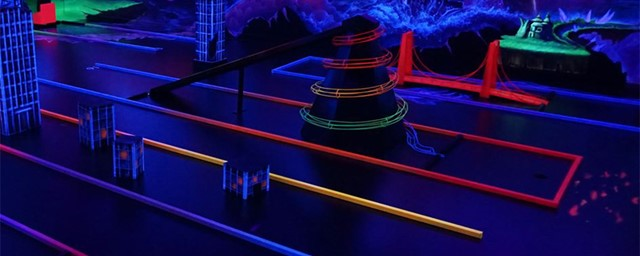 Mini Golf obstacles painted in blacklight