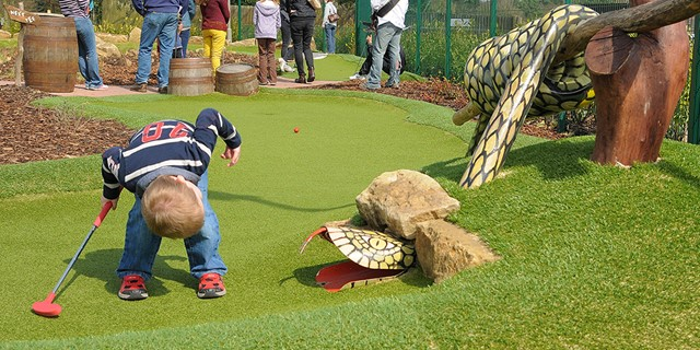 Young boy looking for his ball in the snake