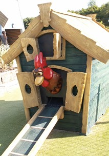 Play the ball into the chickens house